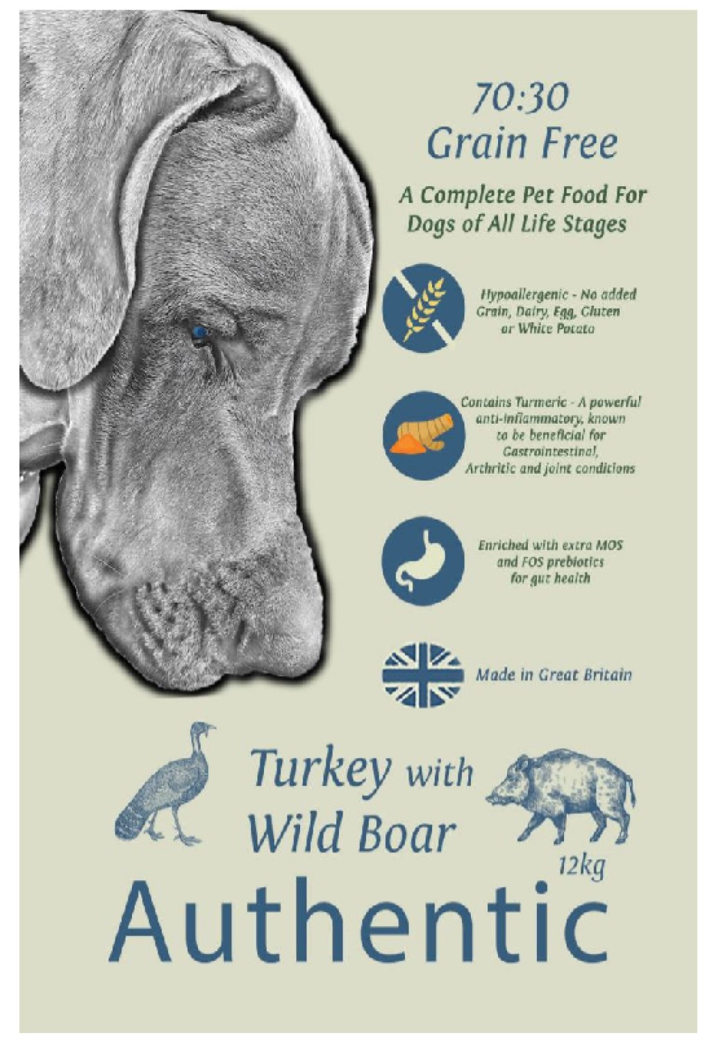 Grace 70/30 Authentic Turkey with Wild Boar 12kg Dog Food