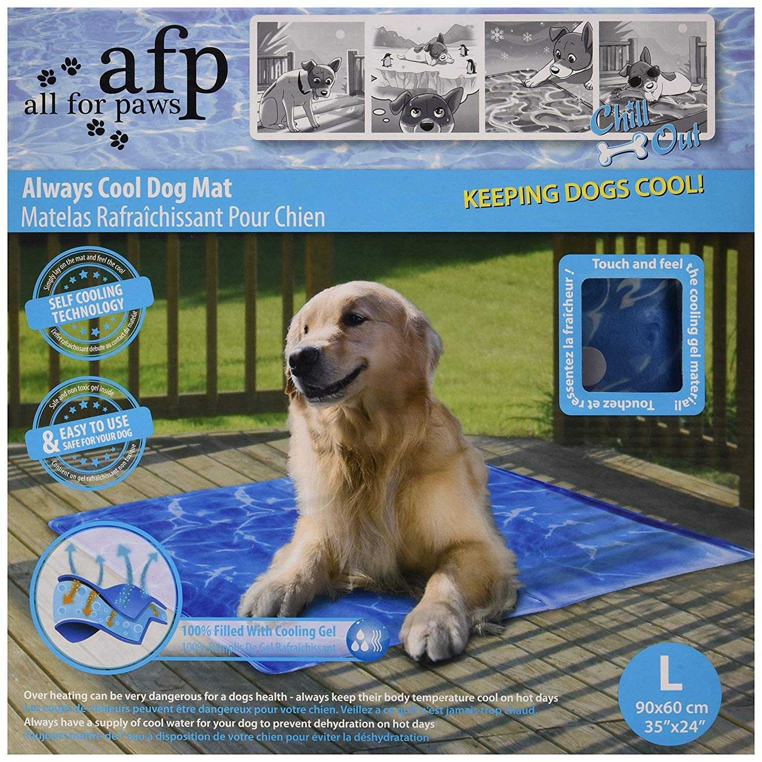 All For Paws Chill Out Always Cool Mat, Large