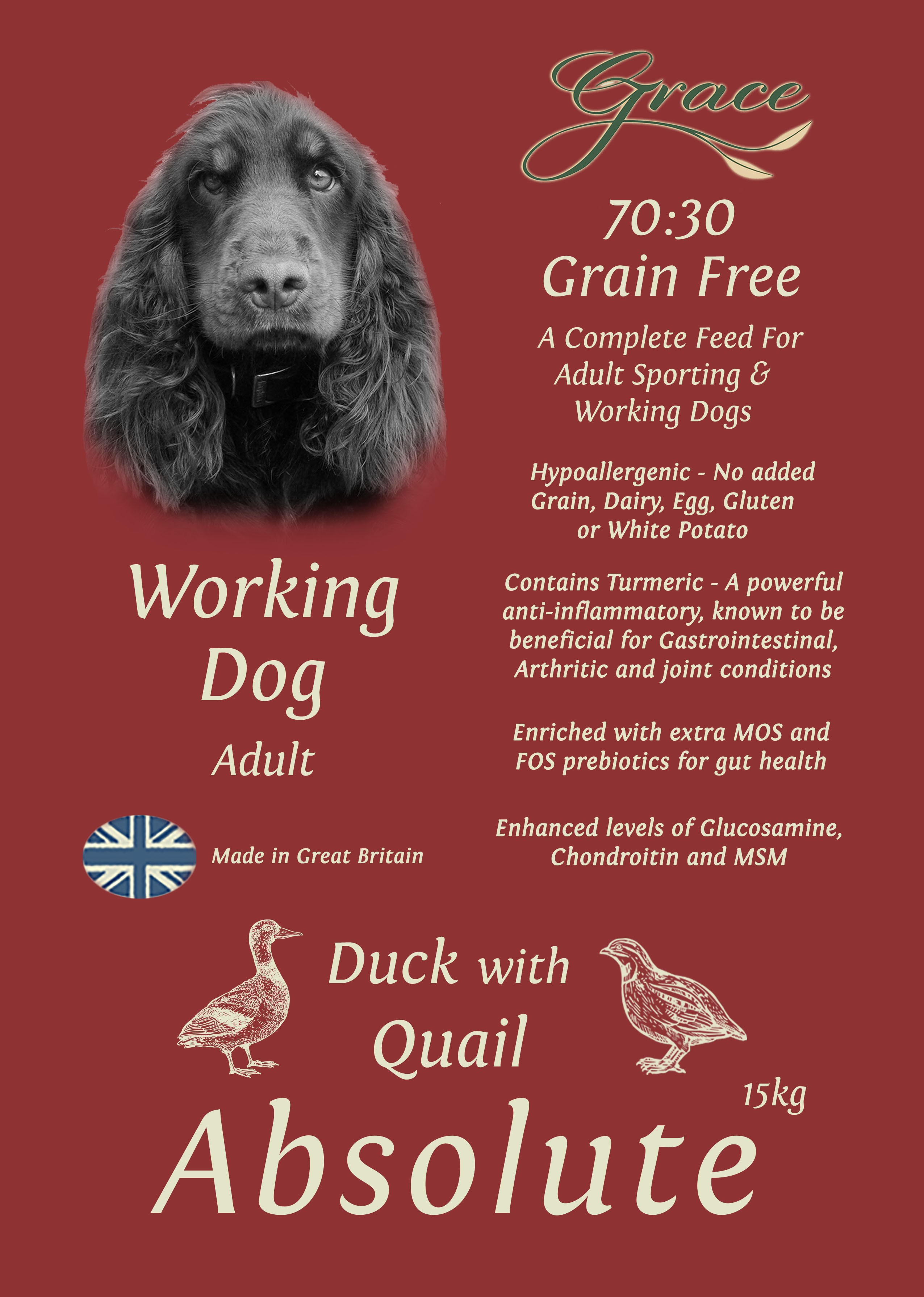 Grace 70/30 Absolute Duck with Quail 15kg Twin Pack