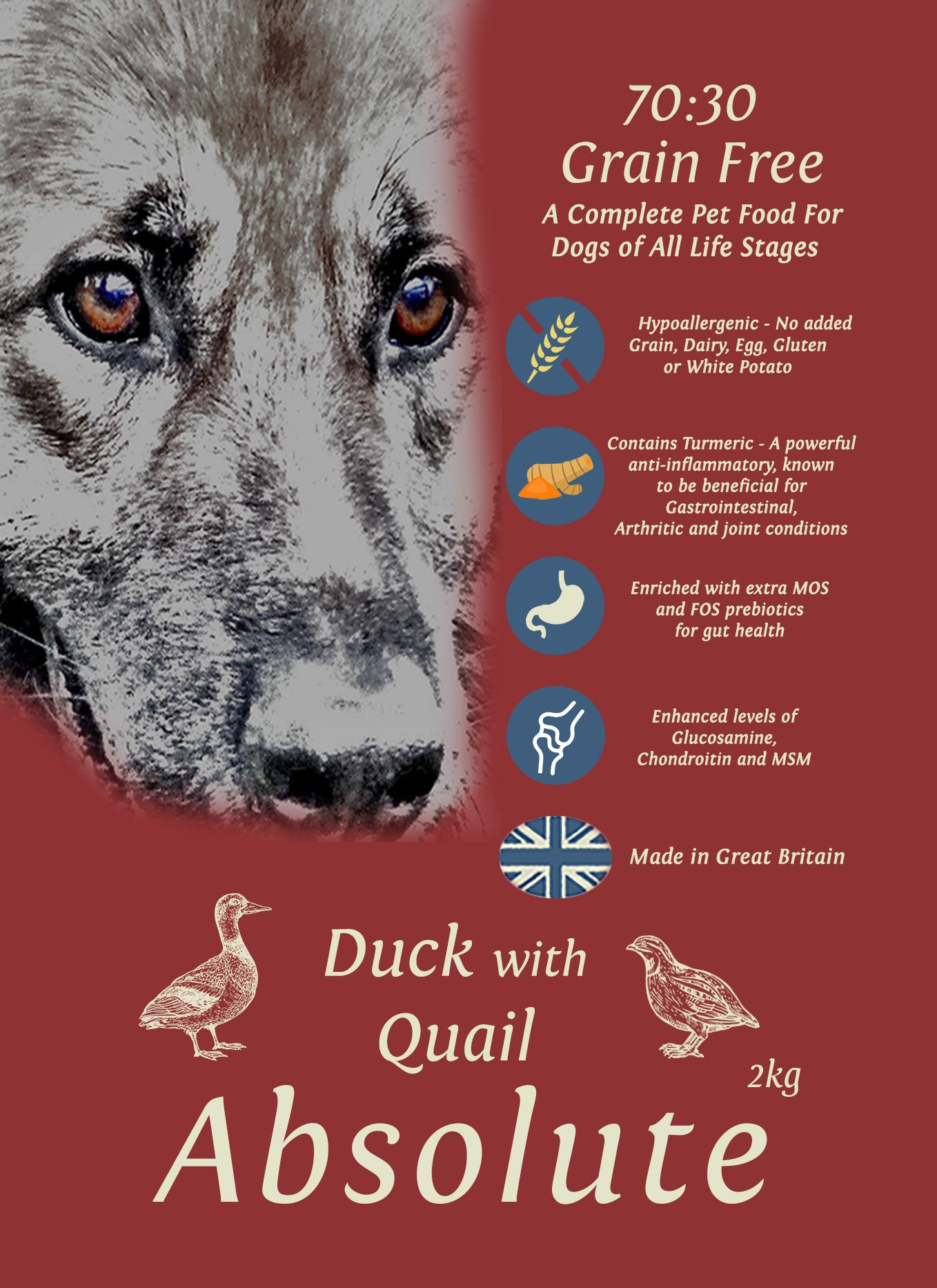 Grace 70/30 Absolute Duck with Quail 2kg Dog Food