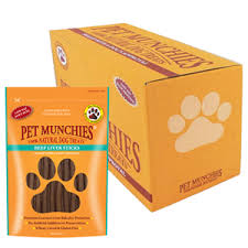 Pet Munchies Beef Liver Sticks 1 box of 8