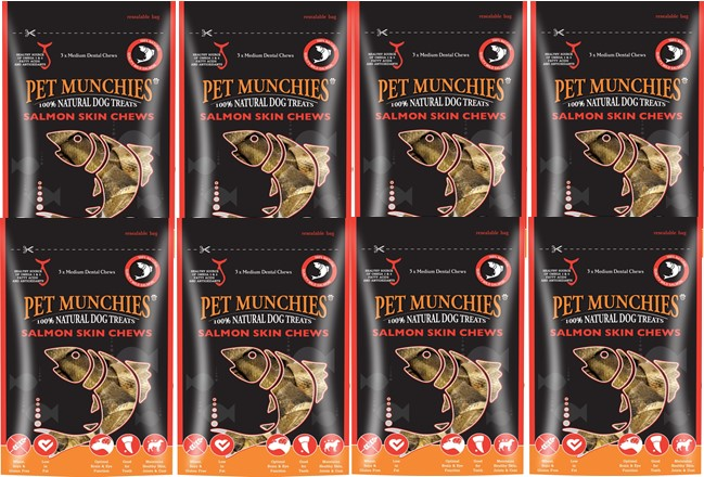 Pet Munchies Salmon Chews Medium 1 box of 8