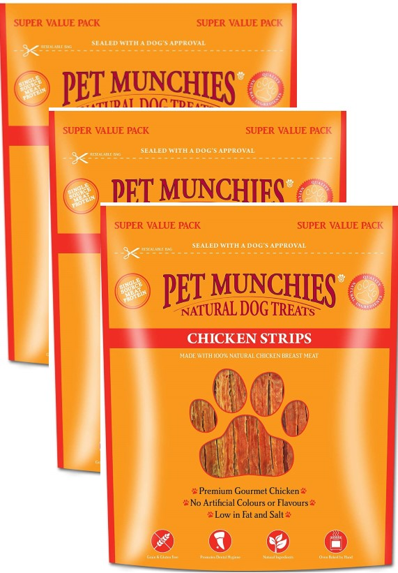 Pet Munchies Super Value Pack Chicken Strips 3 x 320g