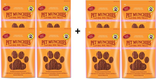 Pet Munchies Chicken & Sweet Potato Sticks 1 box 8
