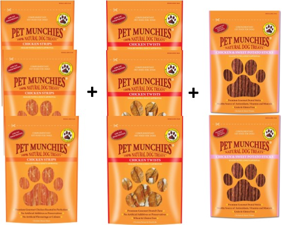 Pet Munchies Dog Treats Chicken Mixed 8 Pack