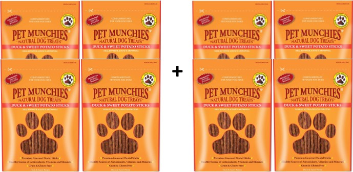 Pet Munchies Duck & Sweet Potato Sticks 1 box of 8