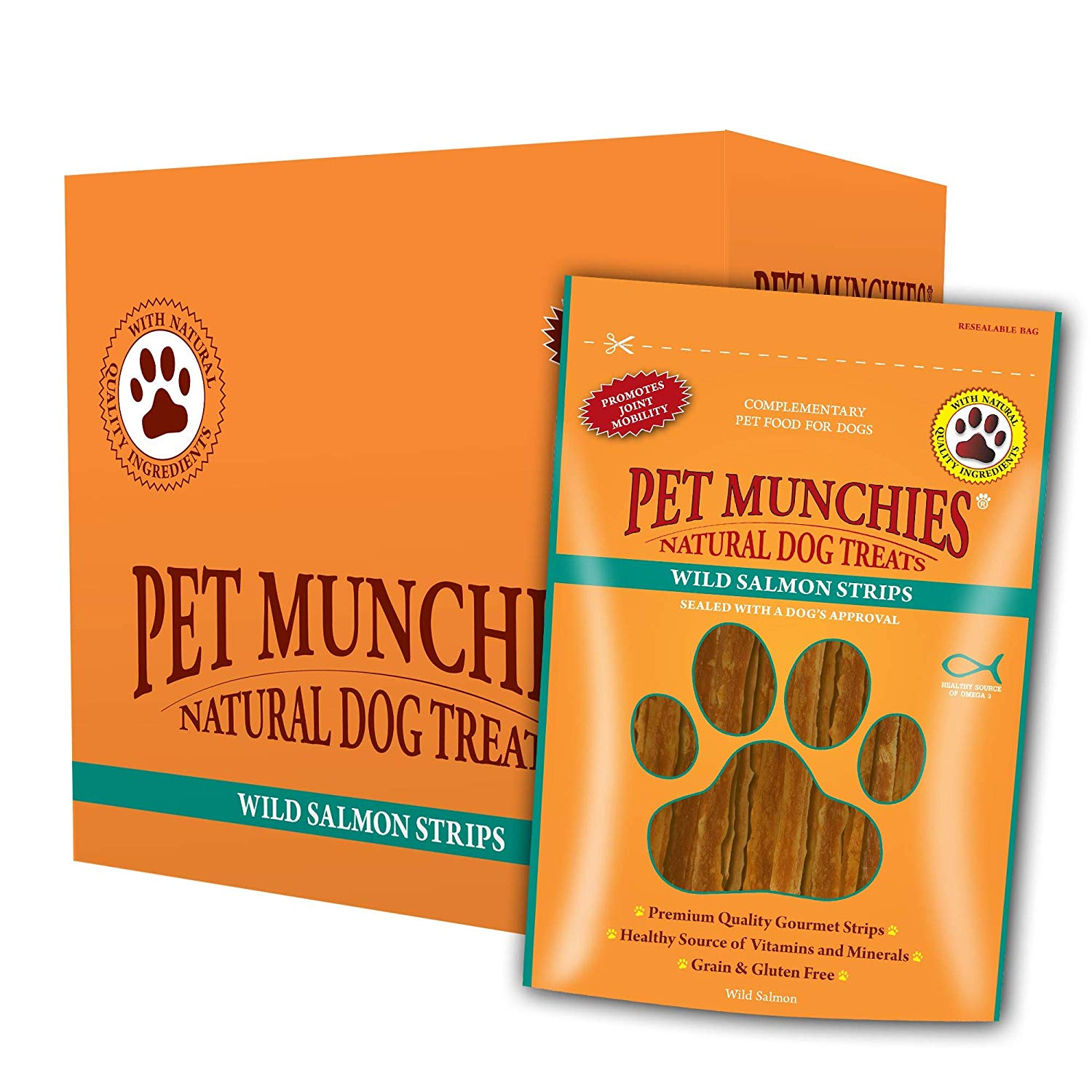 Pet Munchies Wild Salmon Strips 1 Box of 8
