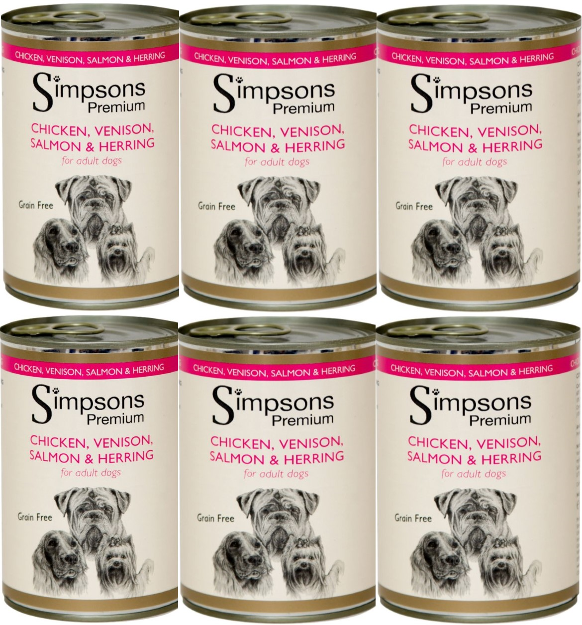 Simpsons Adult Dog Chk/Ven/Salmon & Herring 400g (x6)